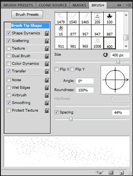Snow Brush Settings in Photoshop