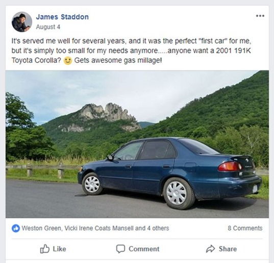 fb post corolla